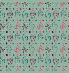 Face emotion hand drawn pattern background vector