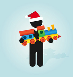 figure man with santa hat holds childrens color vector image