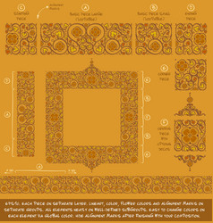 flower decorative ornaments building kit - ochre vector image