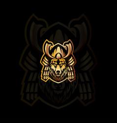 fox samurai mascot logo vector image
