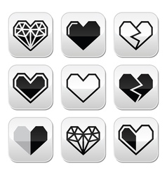 Geometric heart for Valentines Day grey buttons vector