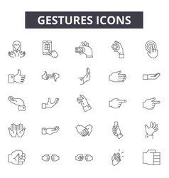 gestures line icons signs set outline vector image