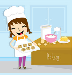 girl make bakery activity cute cartoon vector image