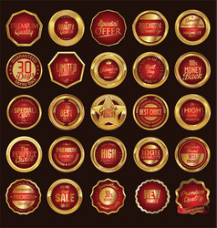 gold and red labels collection vector image