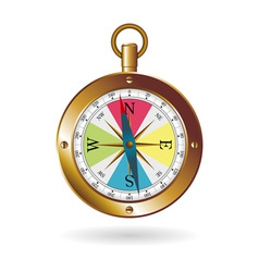 Golden box compass vector