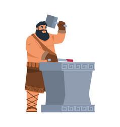 greek god hephaestus cartoon mythological vector image