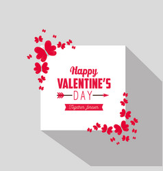 Happy valentine card message with butterflies vector
