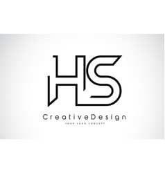 Hs h s letter logo design in black colors vector