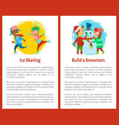 ice skating and build snowman postcards children vector image