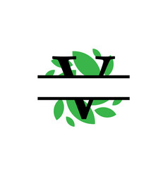 Initial v green leaf monogram split letter vector