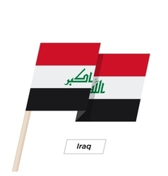 Iraq Ribbon Waving Flag Isolated on White vector