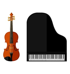 Isolated image of violin and grand piano vector