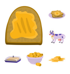 isolated object of food and dairy symbol set of vector image