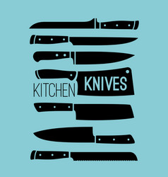 kitchen knives collection vector image