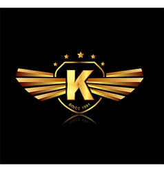 Letter K winged crests logo Alphabet logotype vector image