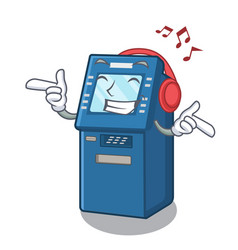 listening music atm machine next to character vector image