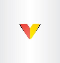 Logo letter v red yellow symbol vector