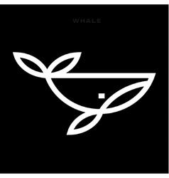Logo whale in a line an outline flat design style vector