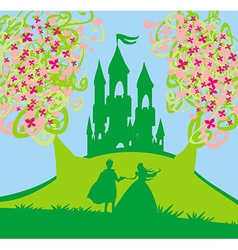 Magic castle and princess with prince vector image