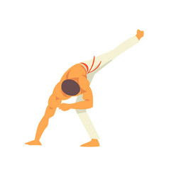 Male capoeira dancer character practicing movement vector