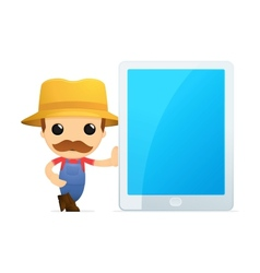 Man leaning on tablet vector