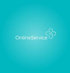 Medical cross emblem online medicine service logo vector