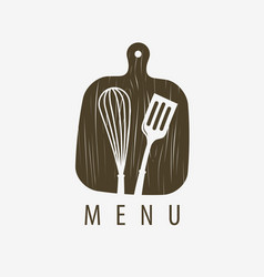 Menu logo or label cooking restaurant symbol vector