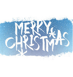 Merry Christmas Lettering with blue sky and vector