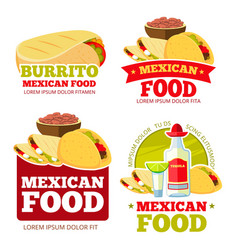 Mexican food restaurant badges labels vector