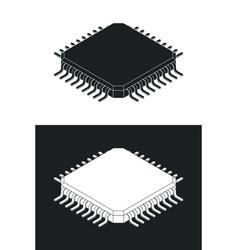 microchip processor logotype template monochrome vector image