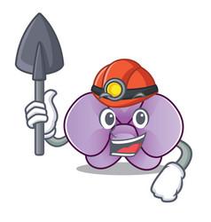 Miner orchid flower mascot cartoon vector