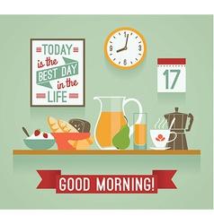 Modern flat design of breakfast Good mornin vector