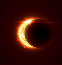 New sun eclipse 3d bright vector