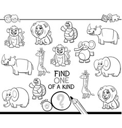 one a kind game with animals color book vector image