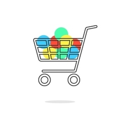 outline shopping cart with colored circles and vector image vector image