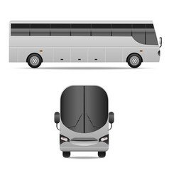 Realistic detailed 3d different view white bus set vector