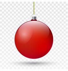 realistic red christmas ball xmas tree vector image