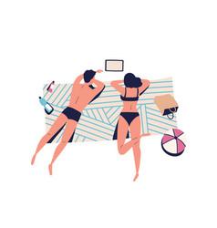 relaxing people sunbathing couple on beach vector image
