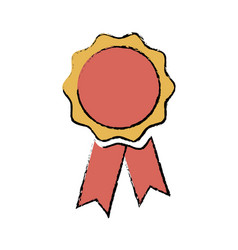 Rosette medal winner prize ribbon decoration vector