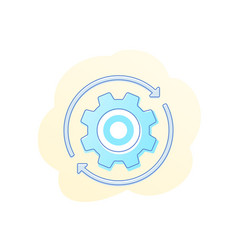 rotation icon with cogwheel gear vector image