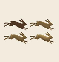 running hare set icons rabbit bunny symbol vector image