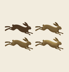 Running hare set of icons rabbit bunny symbol vector