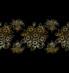 seamless gold outline flowers brush vector image