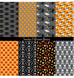 seamless halloween patterns vector image