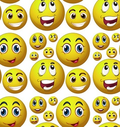 Seamless happy face vector image