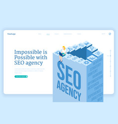 seo agency service isometric landing page banner vector image