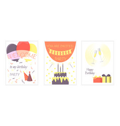 set birthday cards vector image