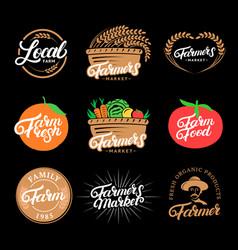 set farm hand written lettering logos labels vector image