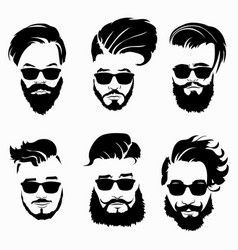 set hairstyles for men in glasses collection vector image