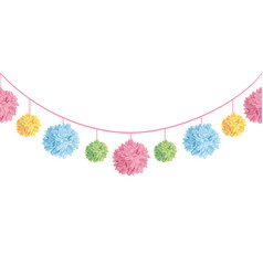 set of hanging pastel colorful birthday vector image